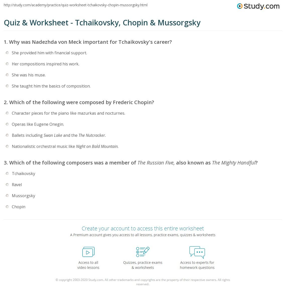 Quiz & Worksheet - Tchaikovsky, Chopin & Mussorgsky | Study com