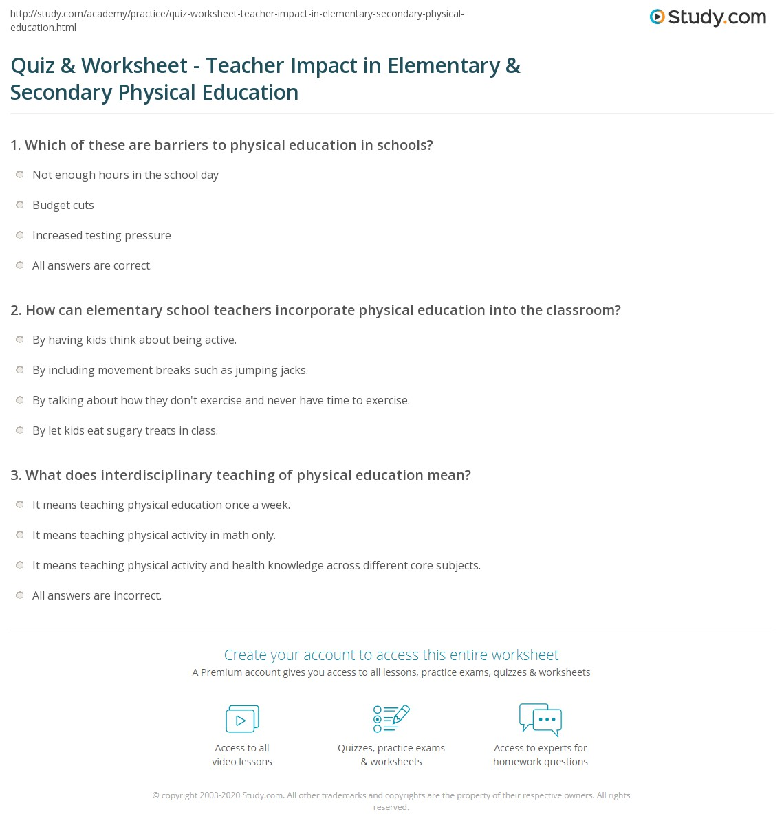 Quiz & Worksheet - Teacher Impact in Elementary & Secondary Physical ...
