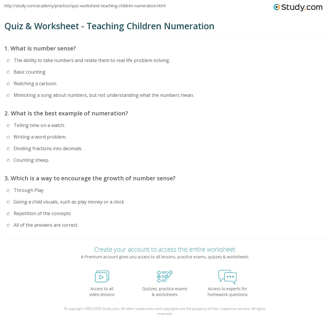 Quiz & Worksheet - Teaching Children Numeration | Study.com