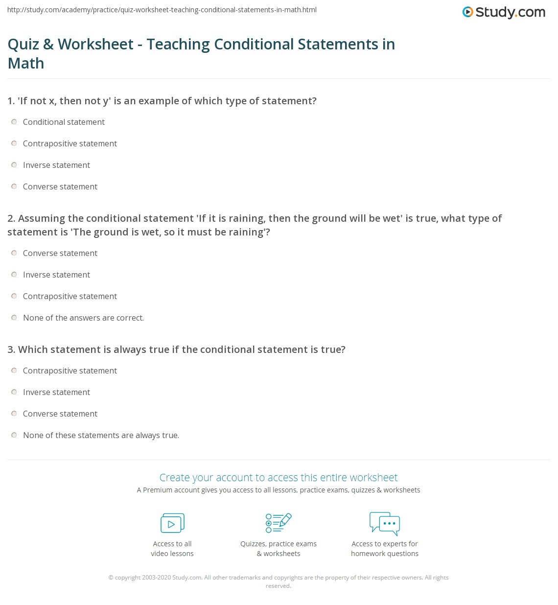 Quiz Worksheet Teaching Conditional Statements In Math Study
