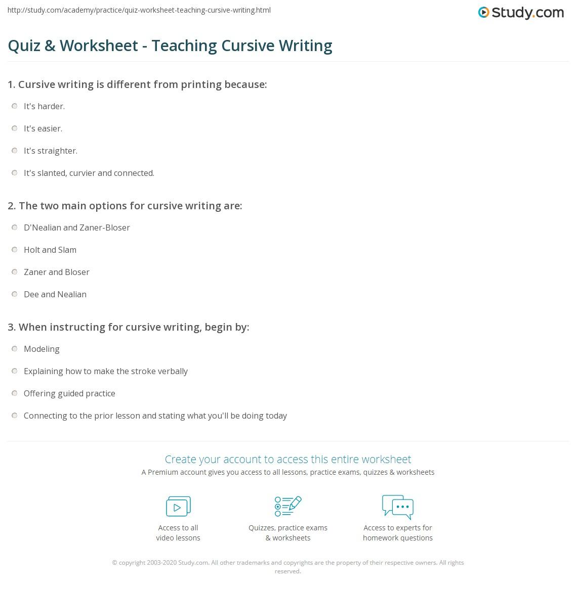 Workbooks zaner bloser cursive worksheets : Quiz & Worksheet - Teaching Cursive Writing | Study.com