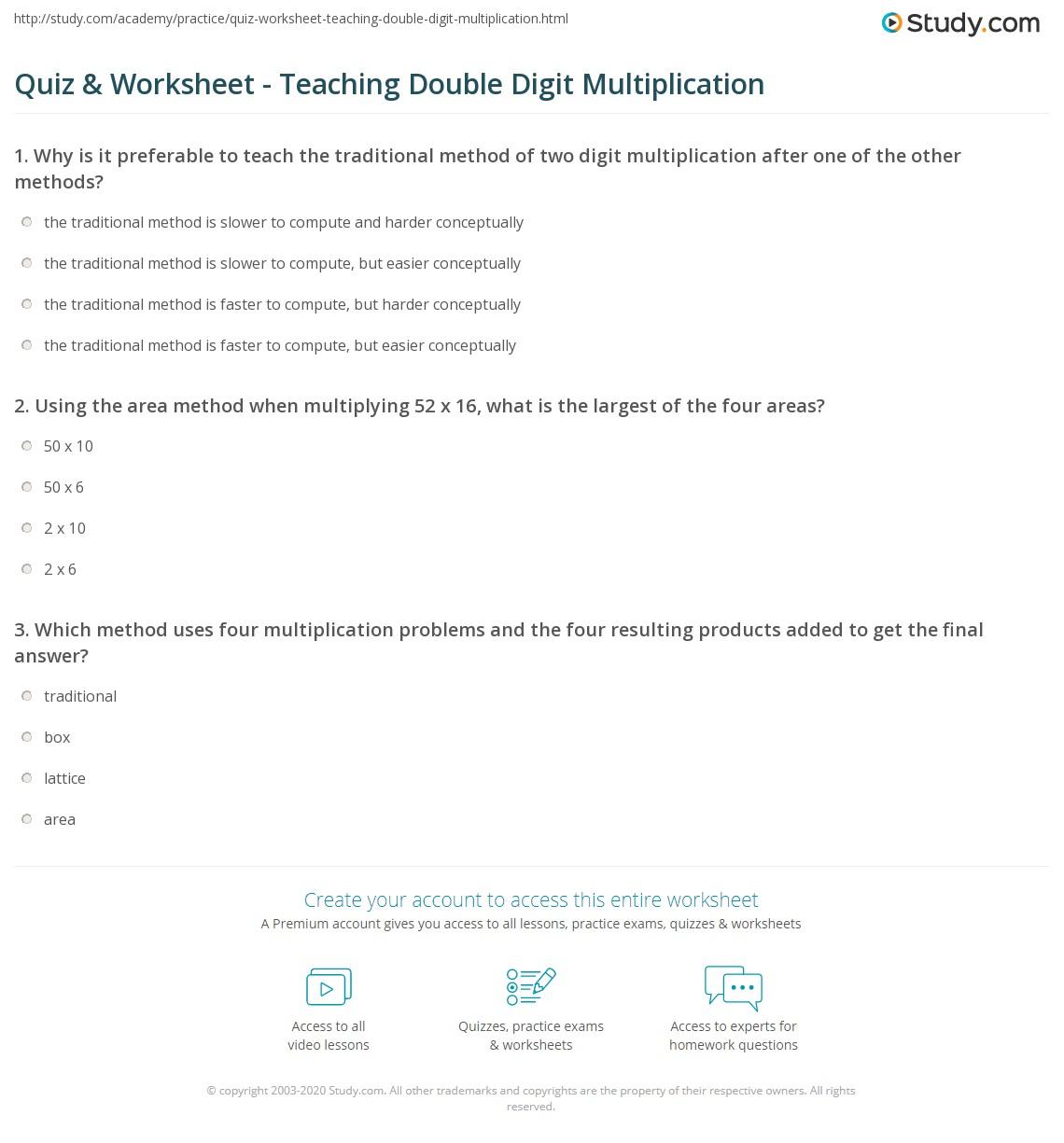 Quiz & Worksheet - Teaching Double Digit Multiplication | Study.com