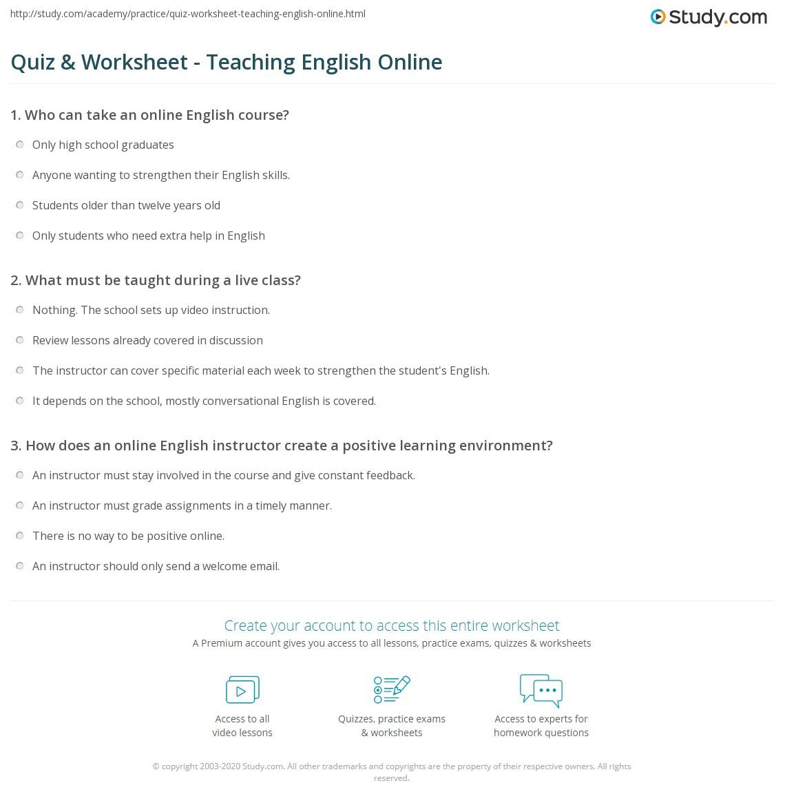Quiz & Worksheet - Teaching English Online   Study.com