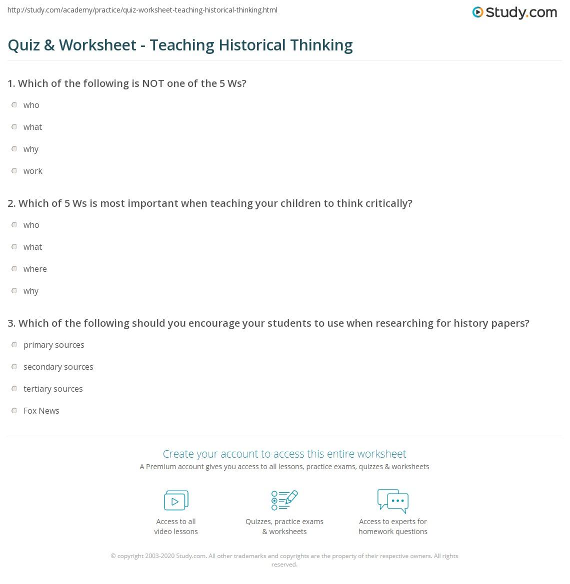 Quiz Worksheet Teaching Historical Thinking – 5 W S Worksheet