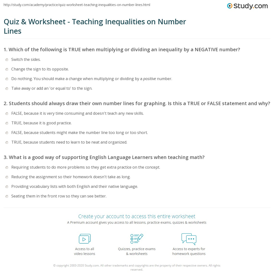 Worksheets Inequalities On A Number Line Worksheet quiz worksheet teaching inequalities on number lines study com print graphing a line worksheet