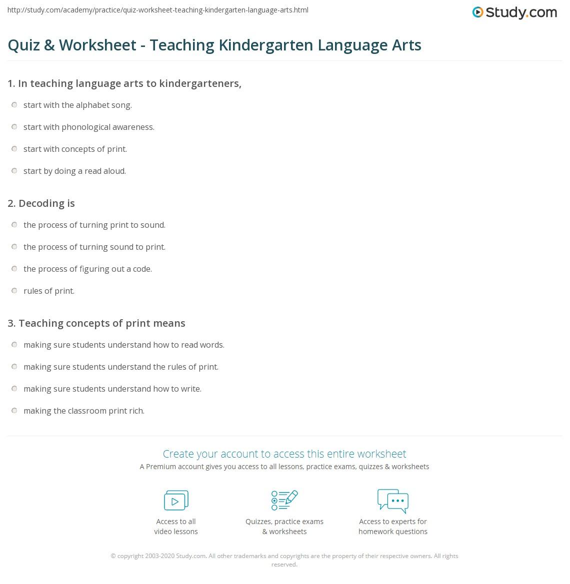 Quiz Worksheet Teaching Kindergarten Language Arts Study