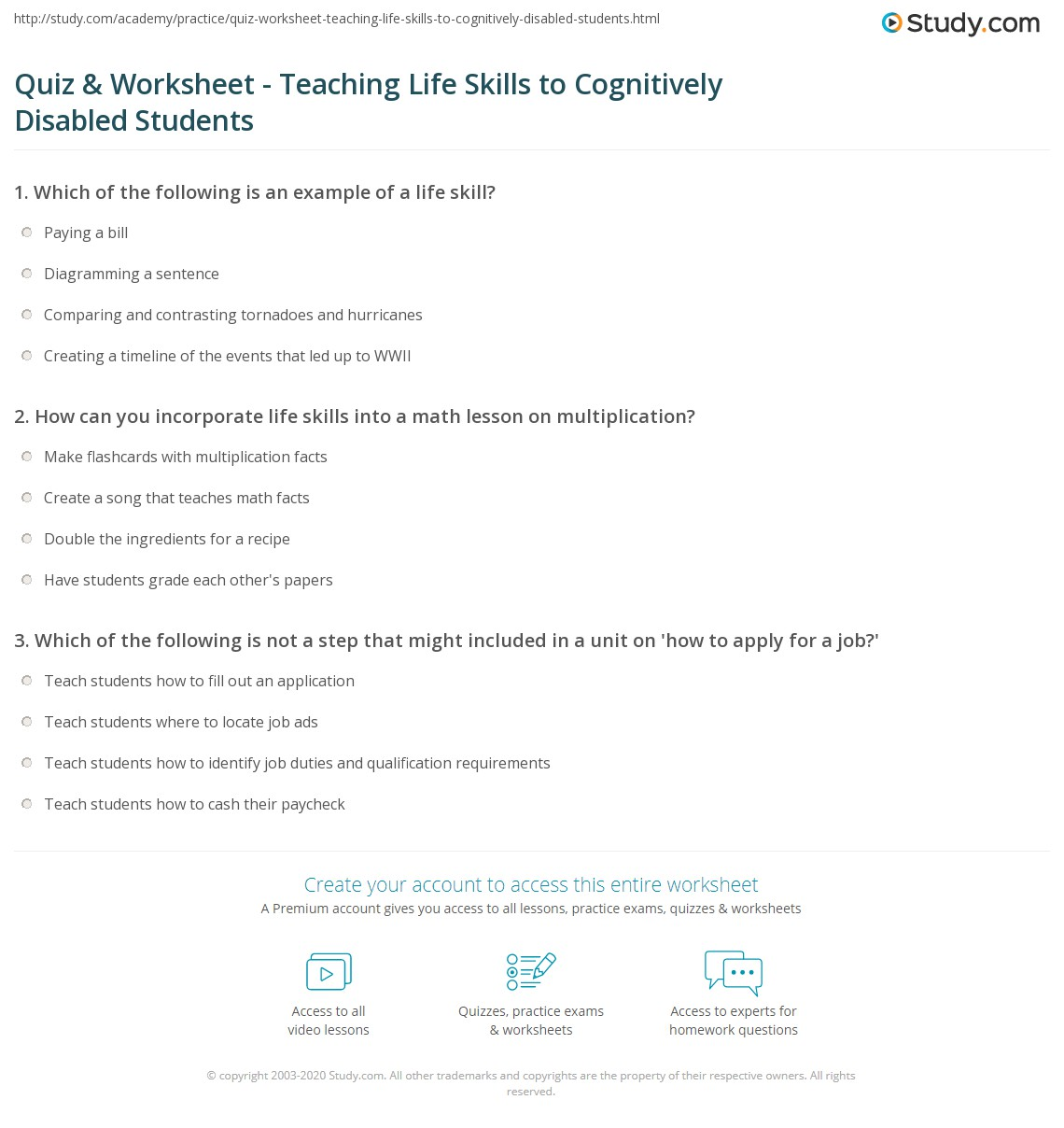 worksheet Life Skills Math Worksheets quiz worksheet teaching life skills to cognitively disabled print students with intellectual disabilities worksheet