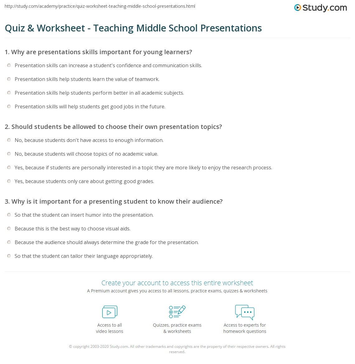 Quiz Worksheet Teaching Middle School Presentations – Middle School Study Skills Worksheets