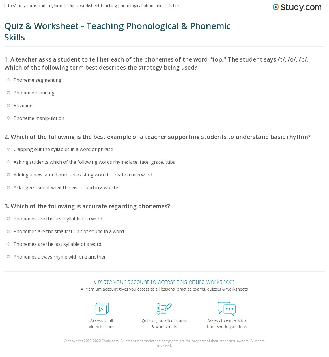 Quiz Worksheet Teaching Phonological Phonemic Skills – Phoneme Segmentation Worksheets