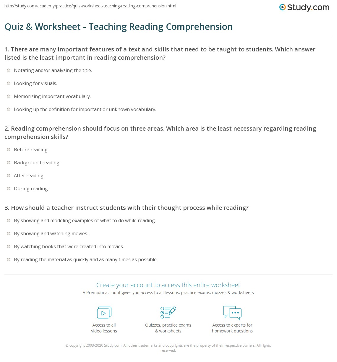 Workbooks text features reading comprehension worksheets : Quiz & Worksheet - Teaching Reading Comprehension | Study.com