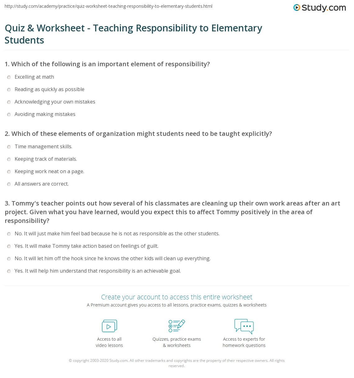 Quiz & Worksheet - Teaching Responsibility to Elementary Students ...
