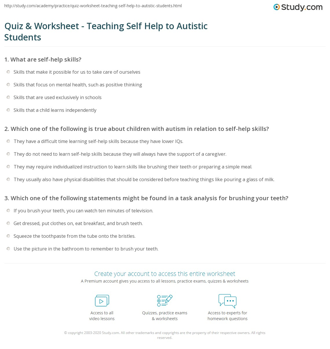 Print Teaching Self Help Skills To Students With Autism Worksheet