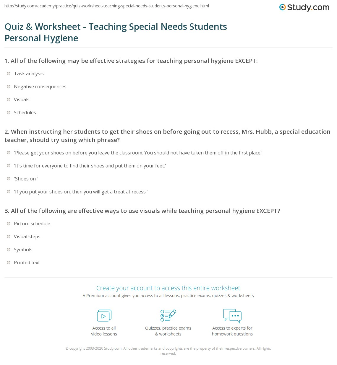 Worksheets Worksheets For Special Education Students quiz worksheet teaching special needs students personal hygiene print to with worksheet
