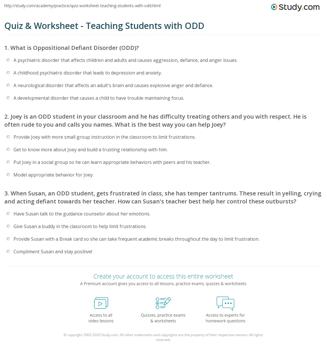 Quiz Worksheet Teaching Students With Odd Study Com