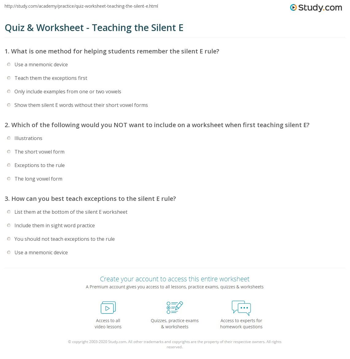 Worksheets Silent E Worksheet quiz worksheet teaching the silent e study com print how to teach rule worksheet