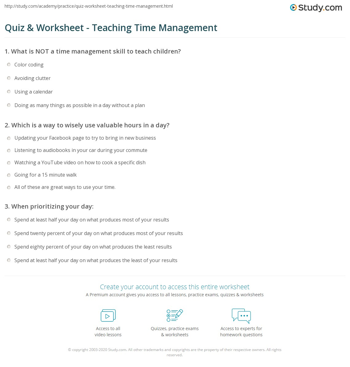 print how to teach time management worksheet - Time Management Worksheet