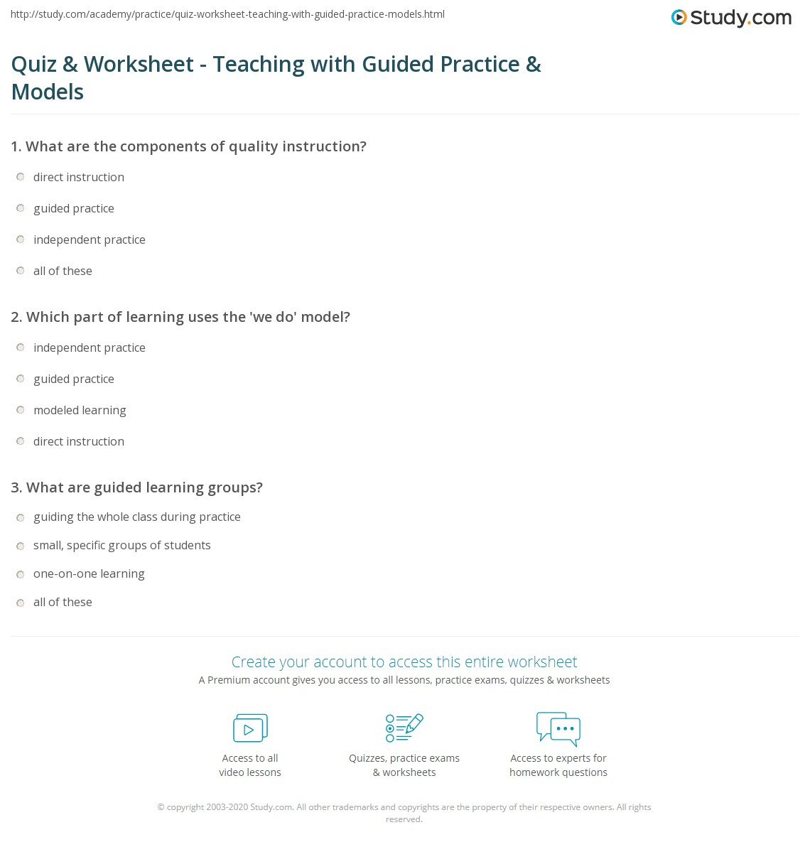 Quiz Worksheet Teaching With Guided Practice Models Study
