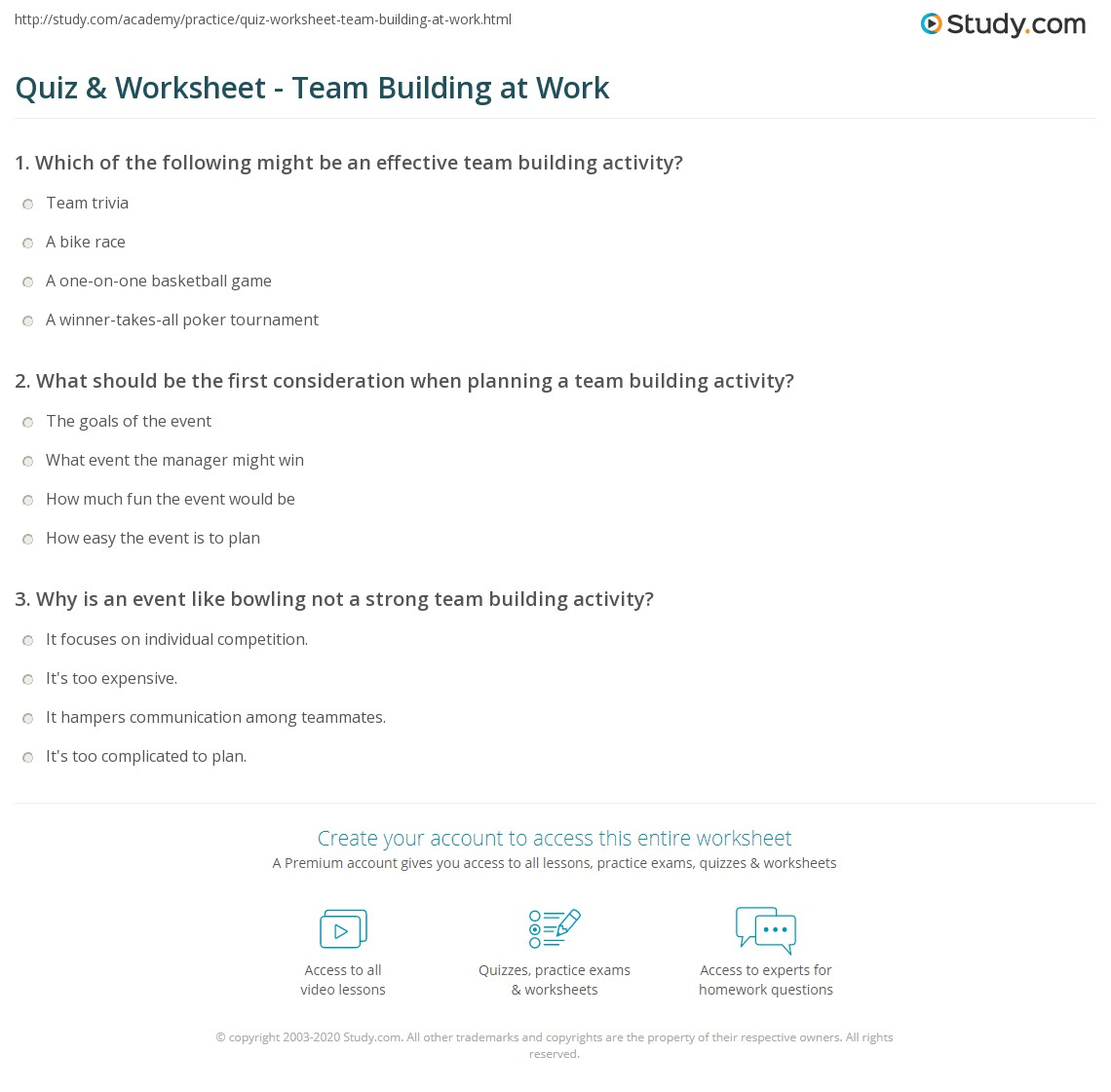Quiz Worksheet Team Building At Work Study Com
