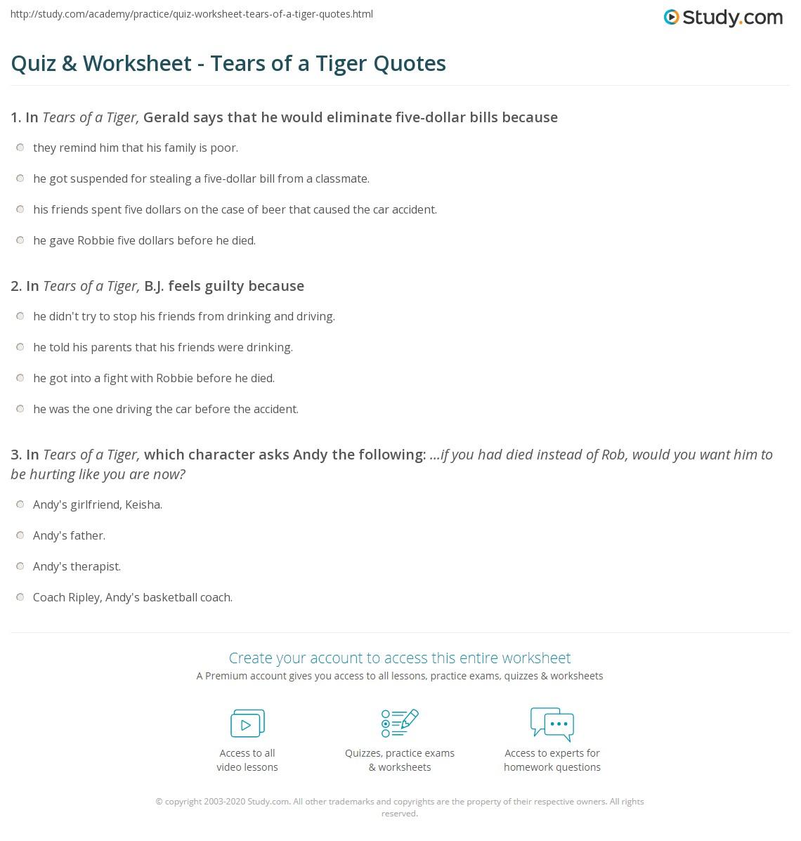 quiz worksheet tears of a tiger quotes. Black Bedroom Furniture Sets. Home Design Ideas