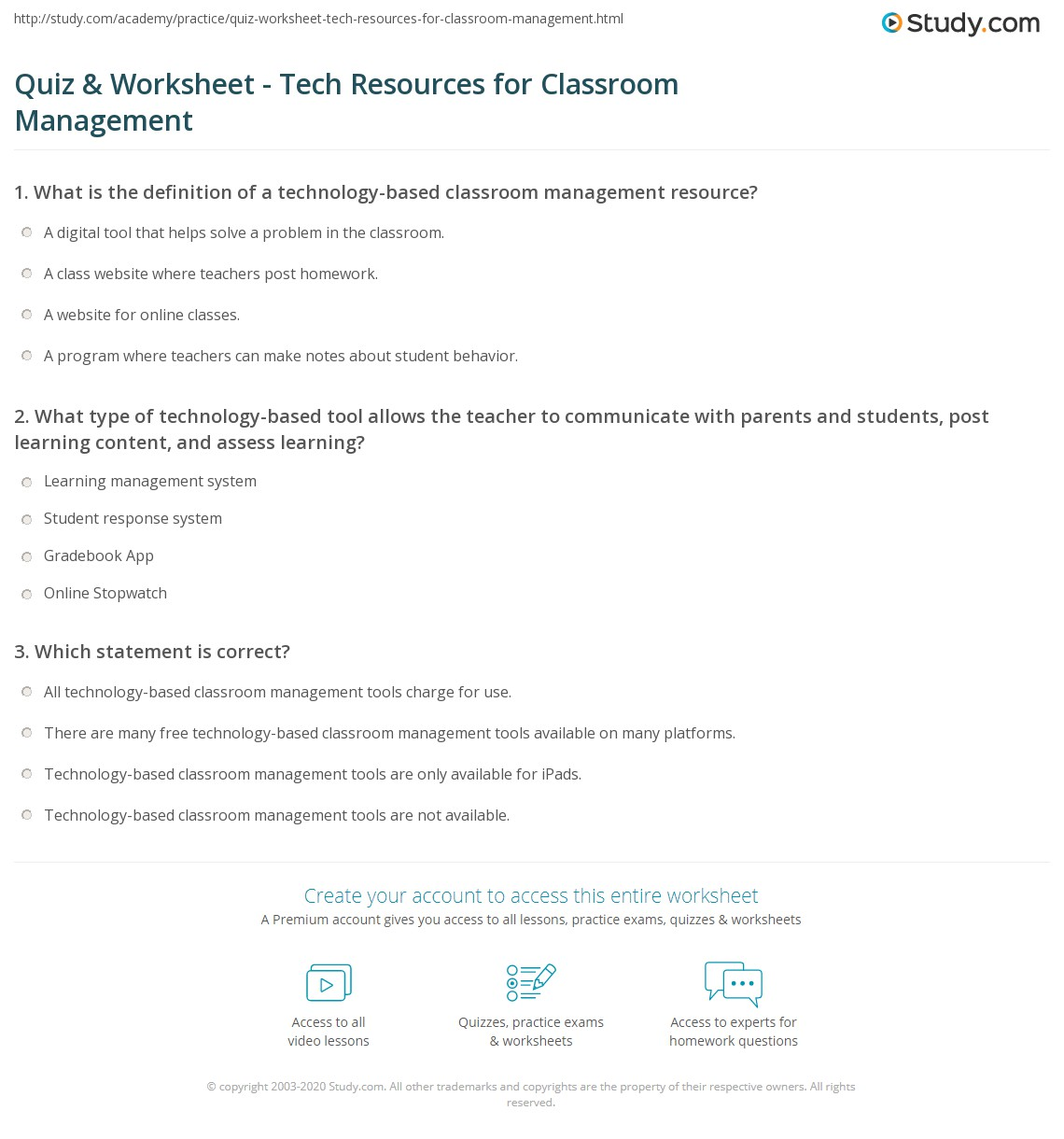 quiz & worksheet - tech resources for classroom management | study