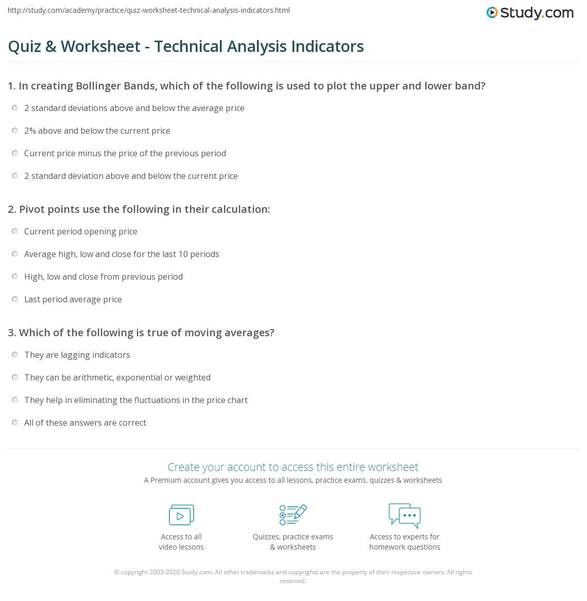 Quiz & Worksheet - Technical Analysis Indicators | Study com
