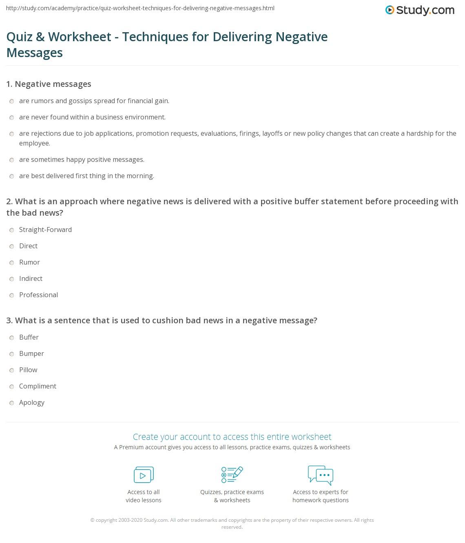 Quiz worksheet techniques for delivering negative messages print strategies for delivering negative messages worksheet thecheapjerseys Images
