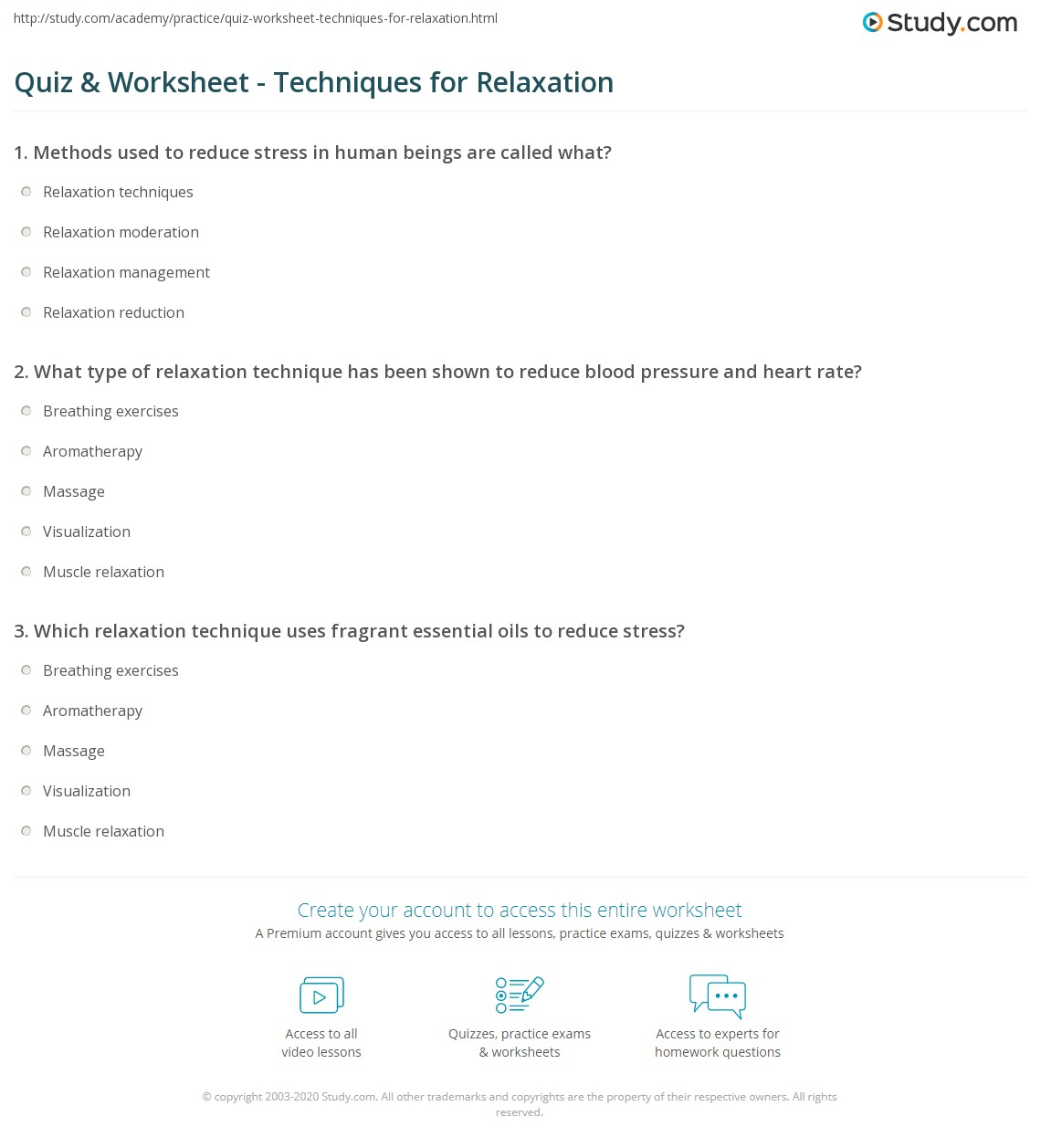 relaxation quiz