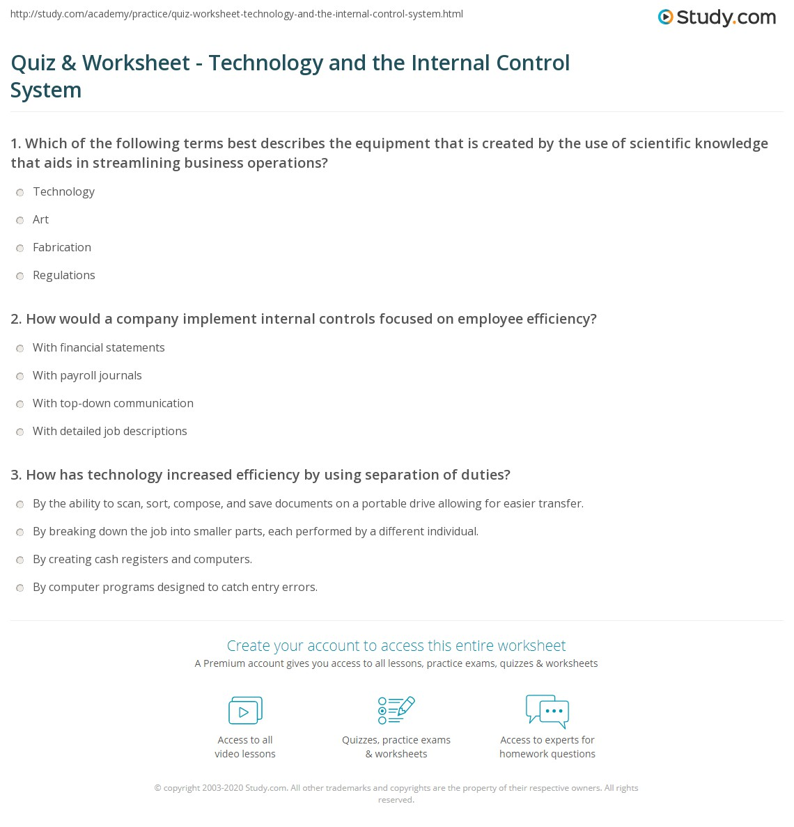 Quiz & Worksheet - Technology and the Internal Control System