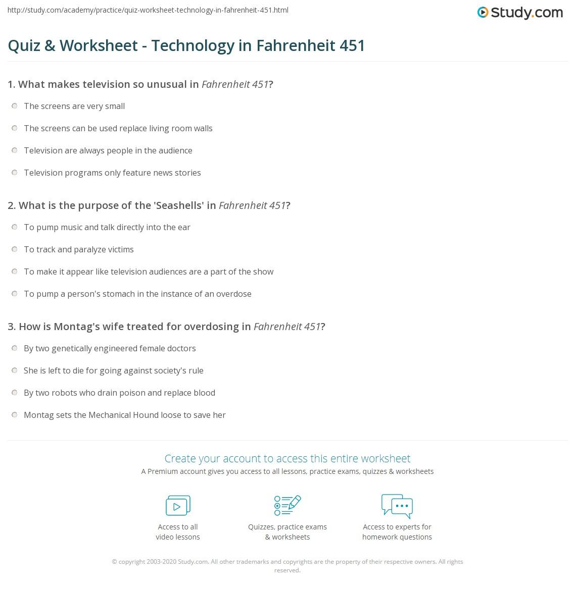 Worksheets Fahrenheit 451 Worksheets quiz worksheet technology in fahrenheit 451 study com print worksheet