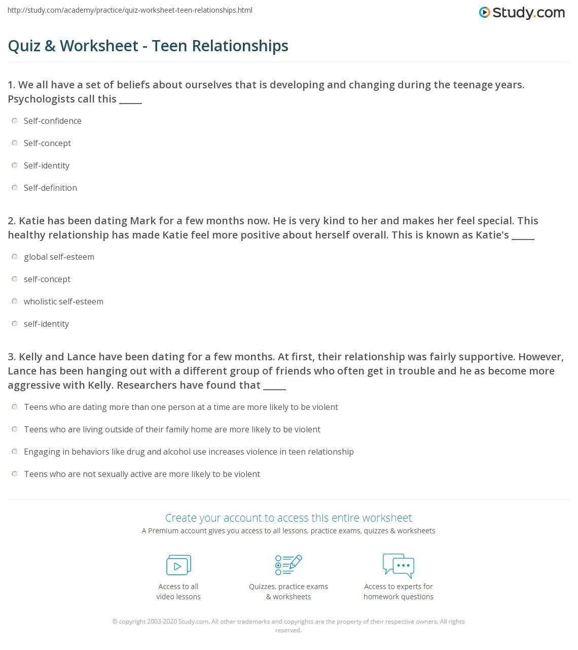 Quiz & Worksheet - Teen Relationships | Study.com