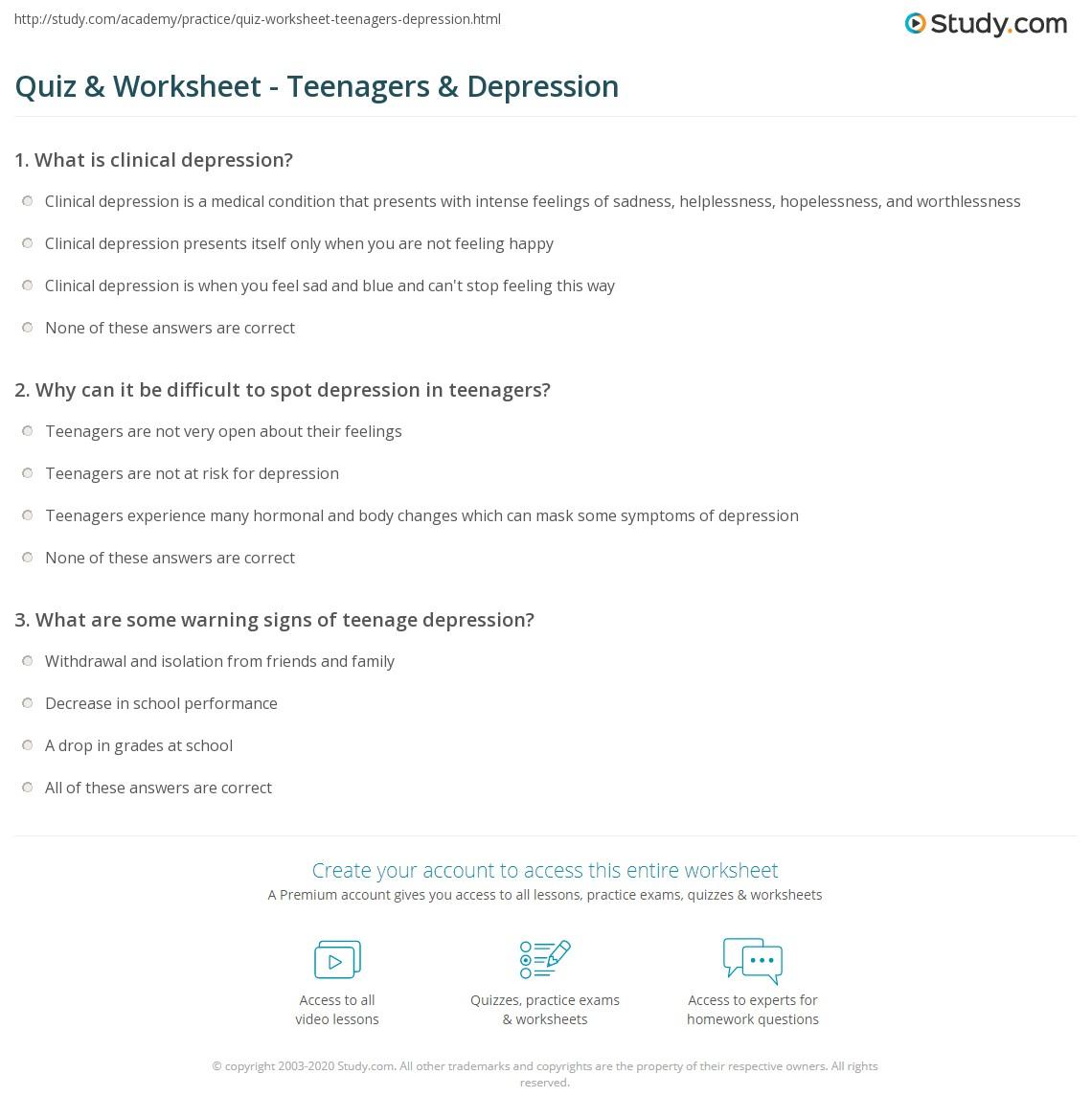 Quiz Worksheet Teenagers Depression Study Com