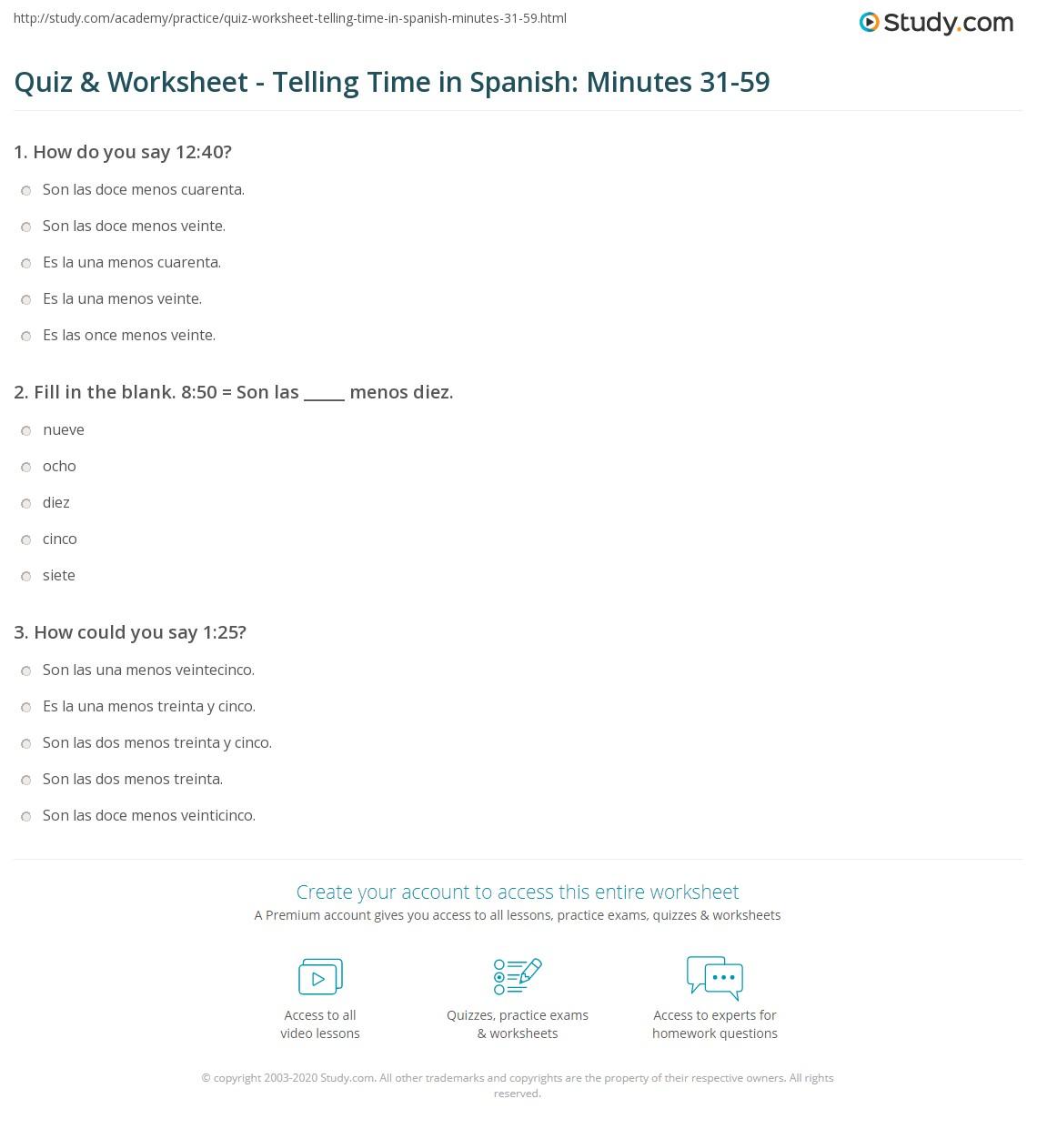 Worksheets Time In Spanish Worksheet quiz worksheet telling time in spanish minutes 31 59 study com print the worksheet
