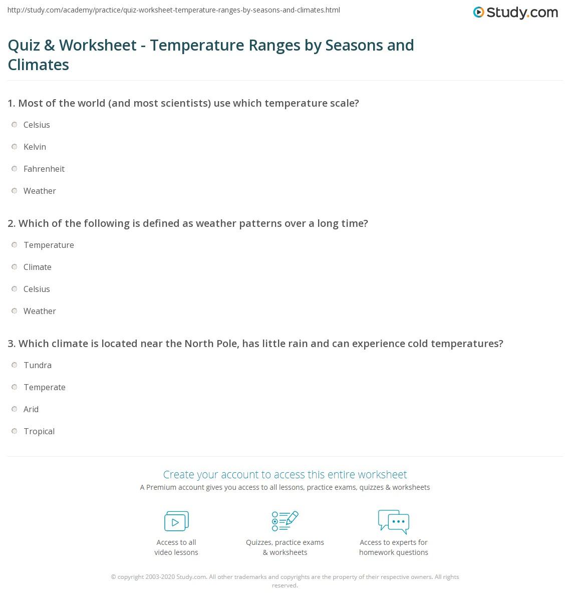 English teaching worksheets: Temperature