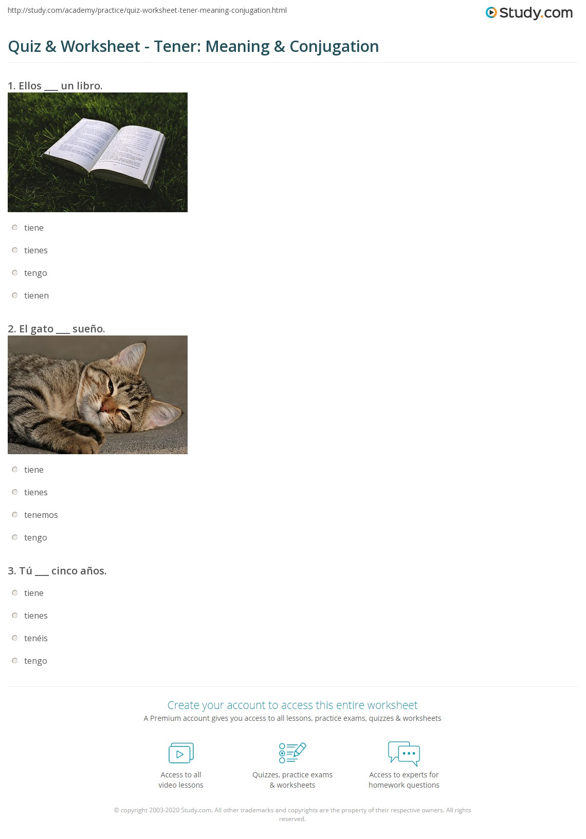 worksheet Tener Worksheet quiz worksheet tener meaning conjugation study com print definition worksheet
