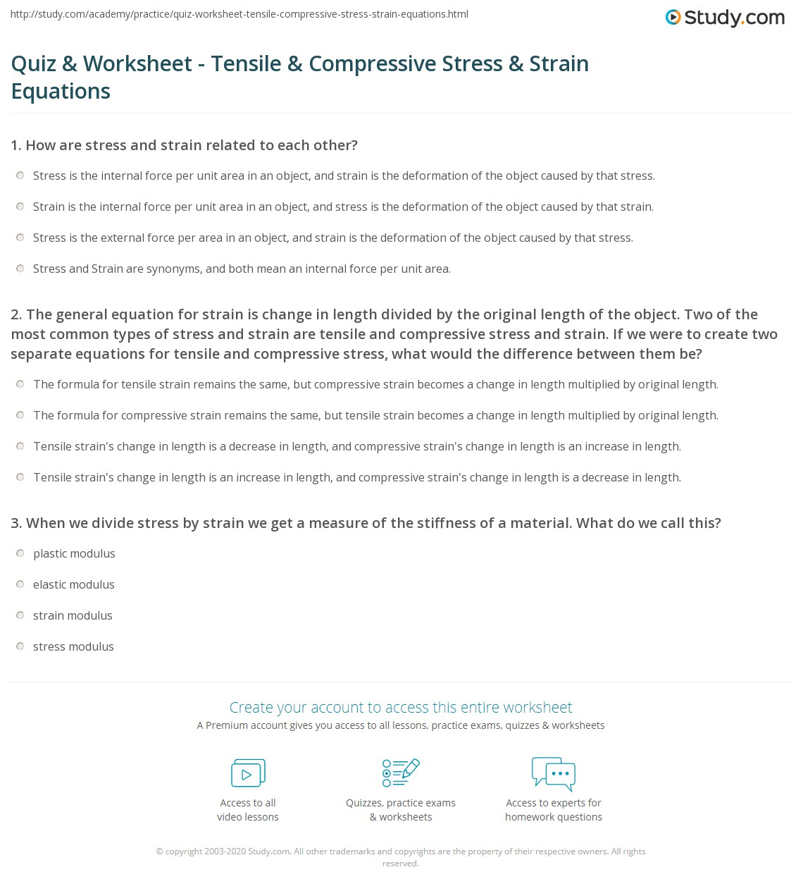 picture about Stress Quiz Printable named Quiz Worksheet - Tensile Compressive Strain Stress