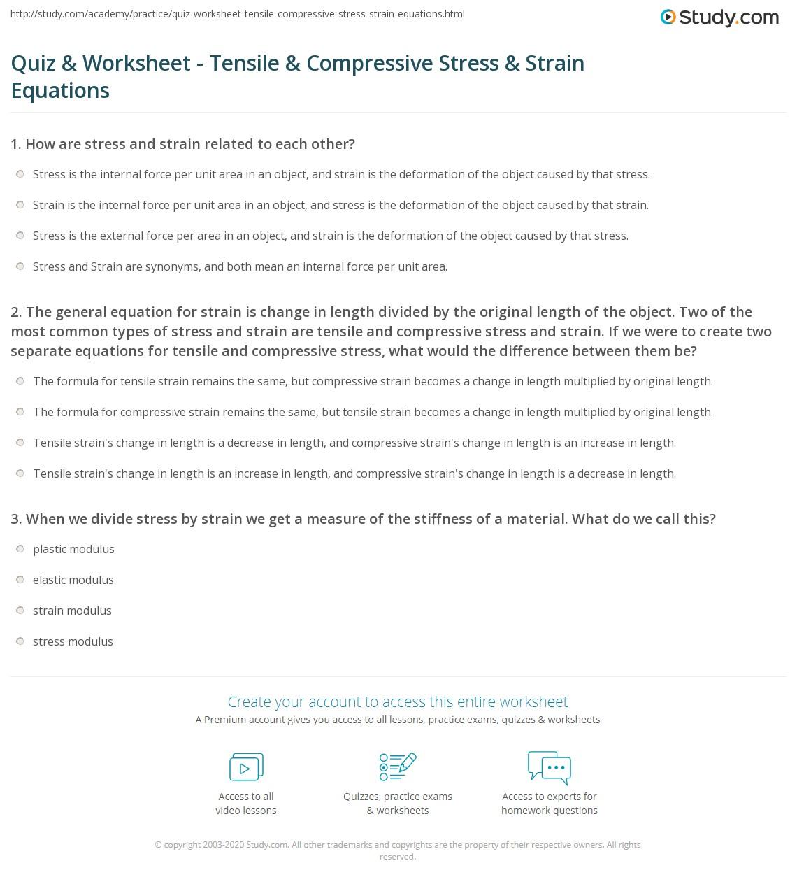 Quiz Worksheet Tensile Compressive Stress Strain Equations – Stress Worksheet