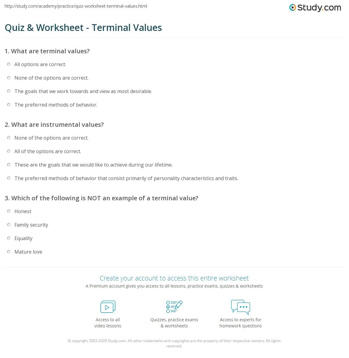 Quiz Worksheet Terminal Values – Personal Values Worksheet