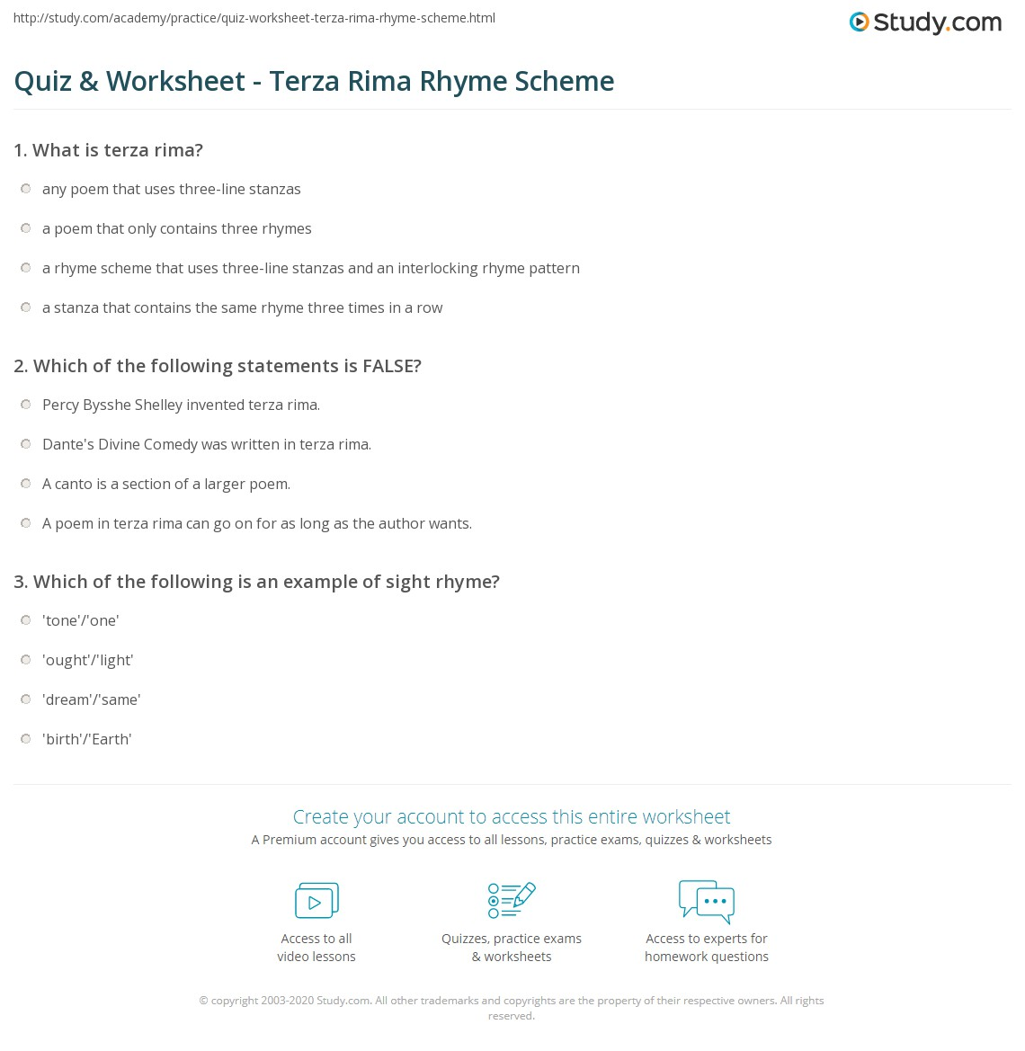 quiz worksheet terza rima rhyme scheme. Black Bedroom Furniture Sets. Home Design Ideas