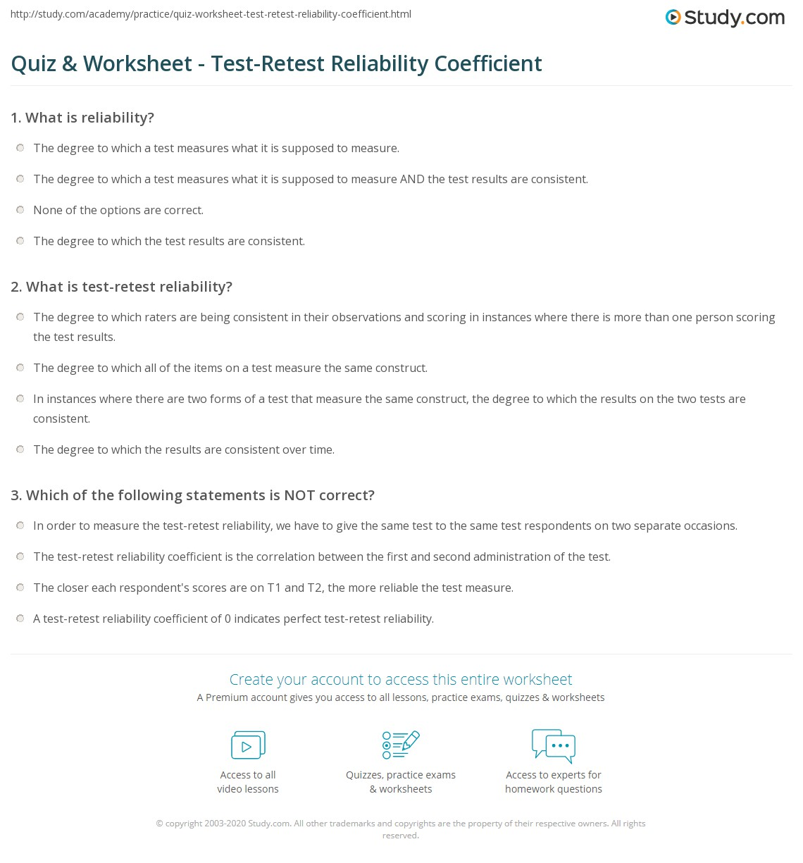 A study of the test–retest reliability of the self ...