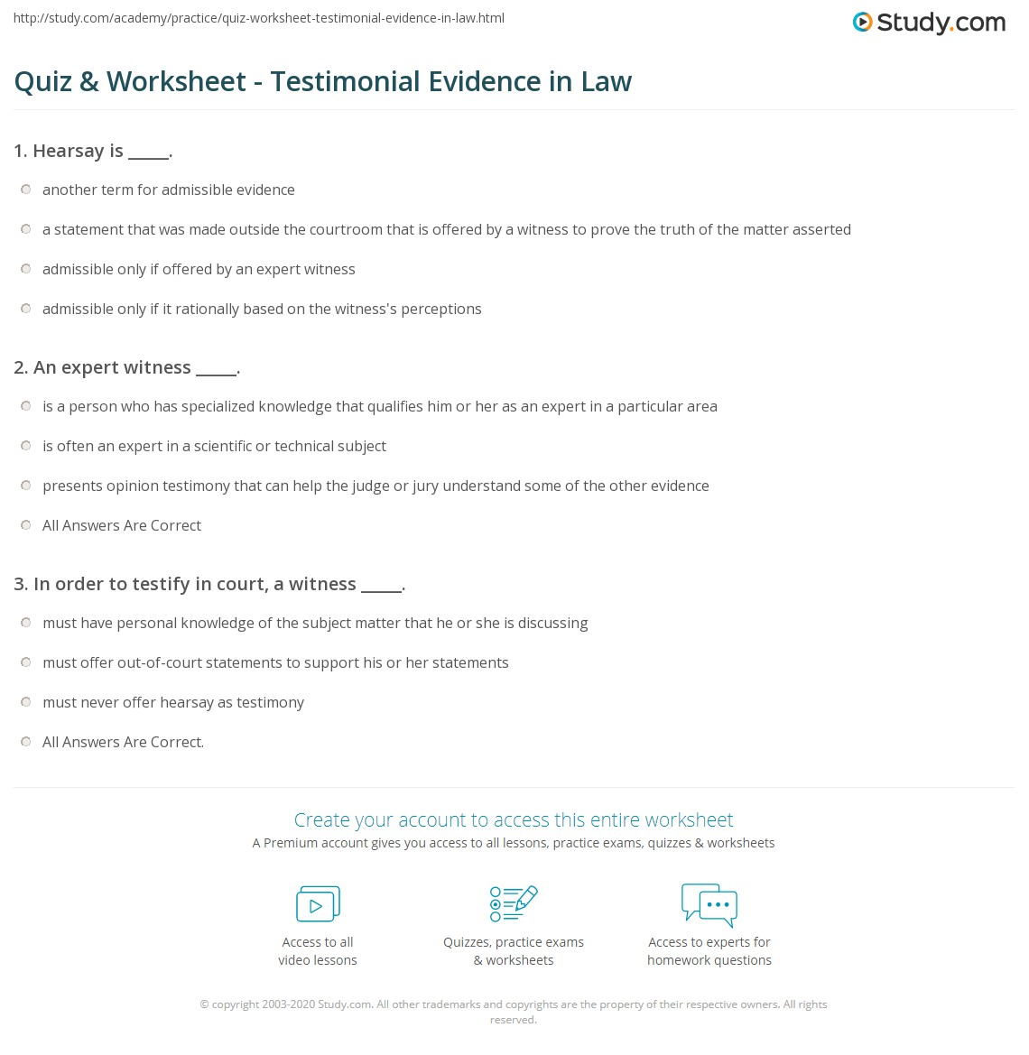 quiz & worksheet - testimonial evidence in law | study
