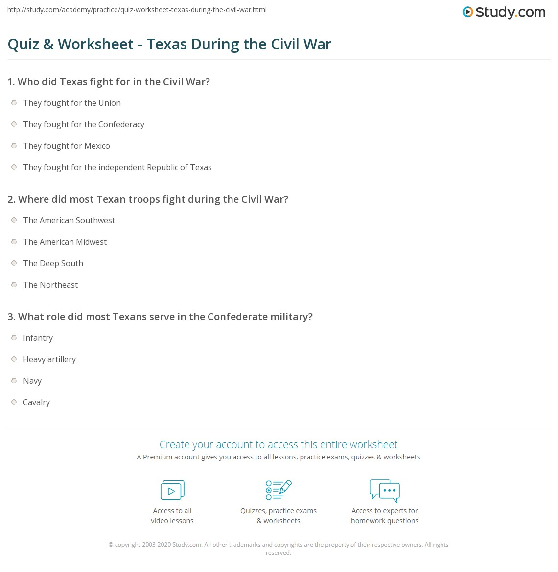 Quiz & Worksheet - Texas During the Civil War | Study.com
