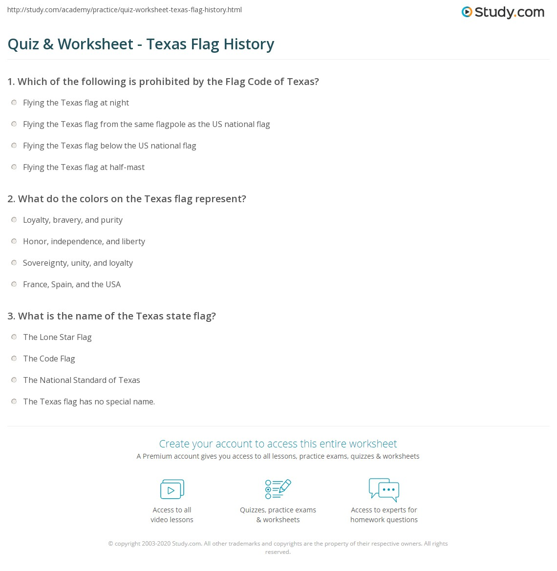 Quiz Worksheet Texas Flag History Study