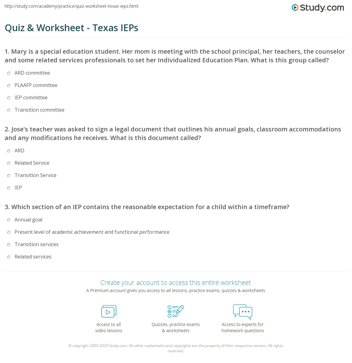 Quiz & Worksheet - Texas IEPs | Study.com