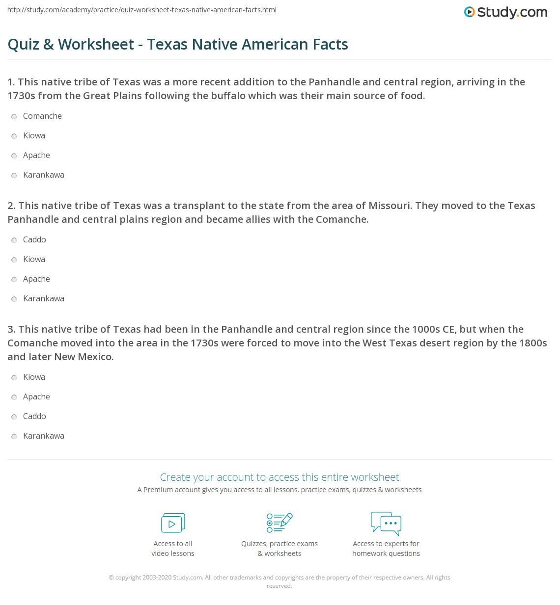Quiz Worksheet Texas Native American Facts Study Com