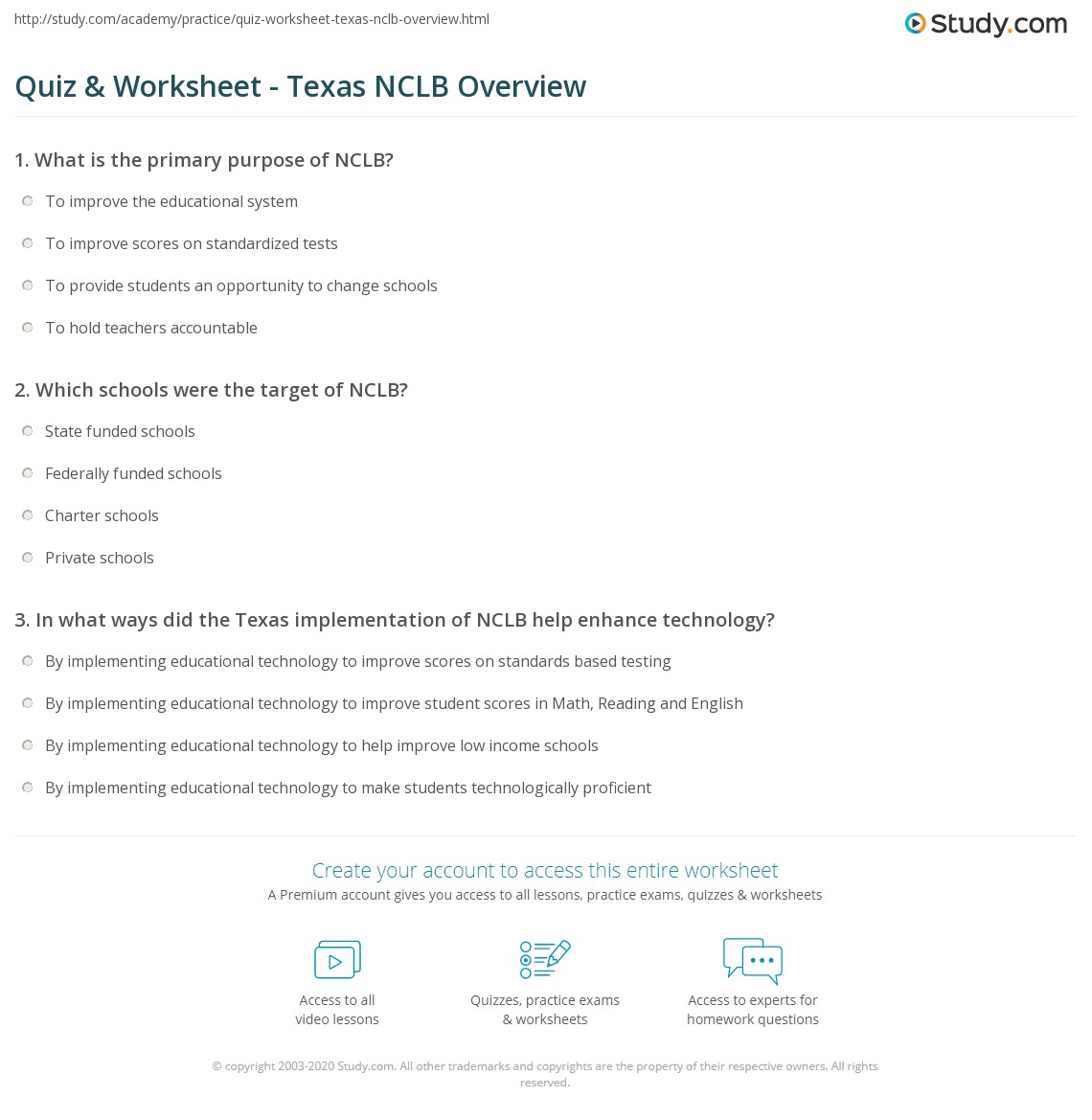 Quiz & Worksheet - Texas NCLB Overview | Study.com