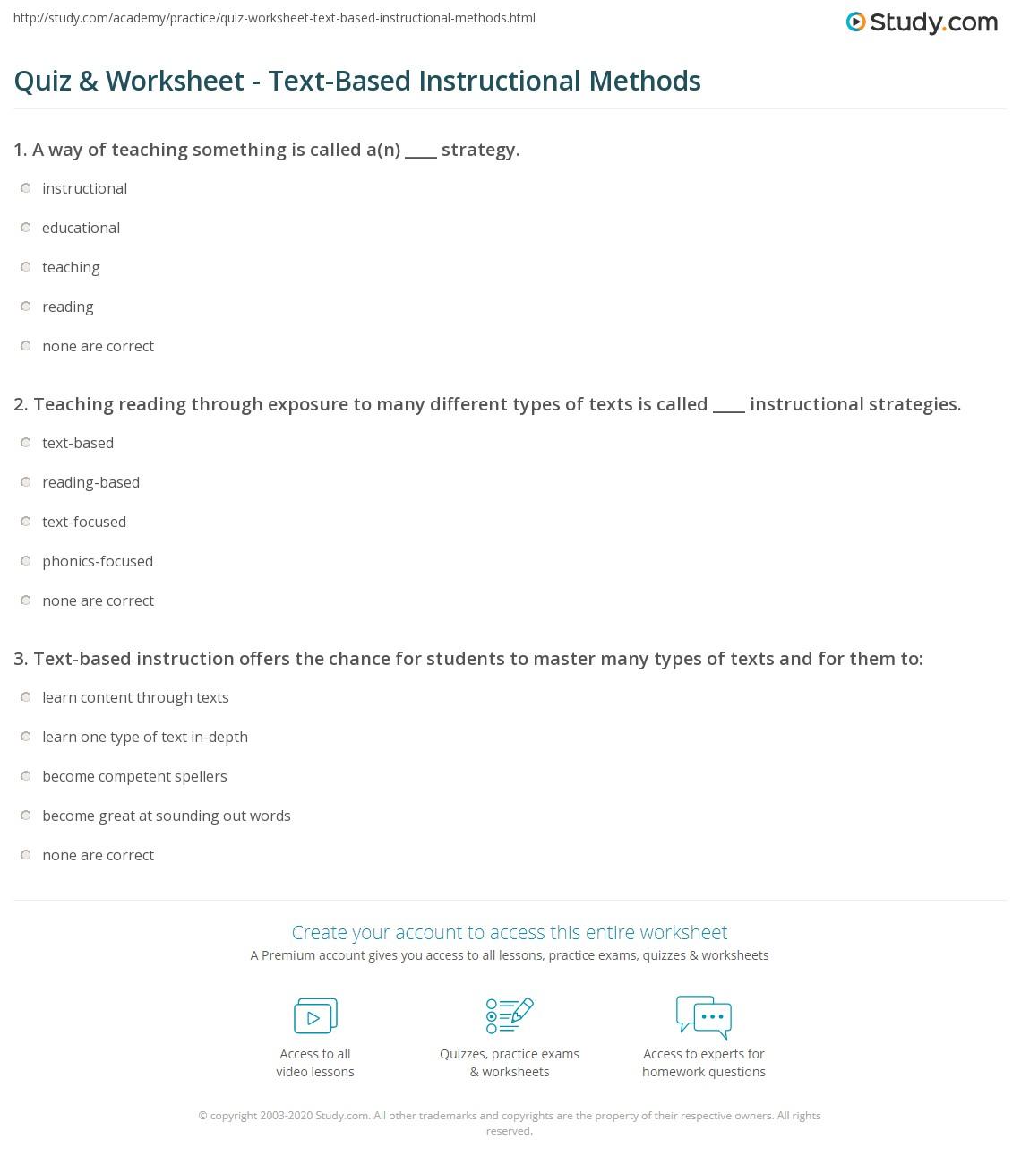 Quiz Worksheet Text Based Instructional Methods Study