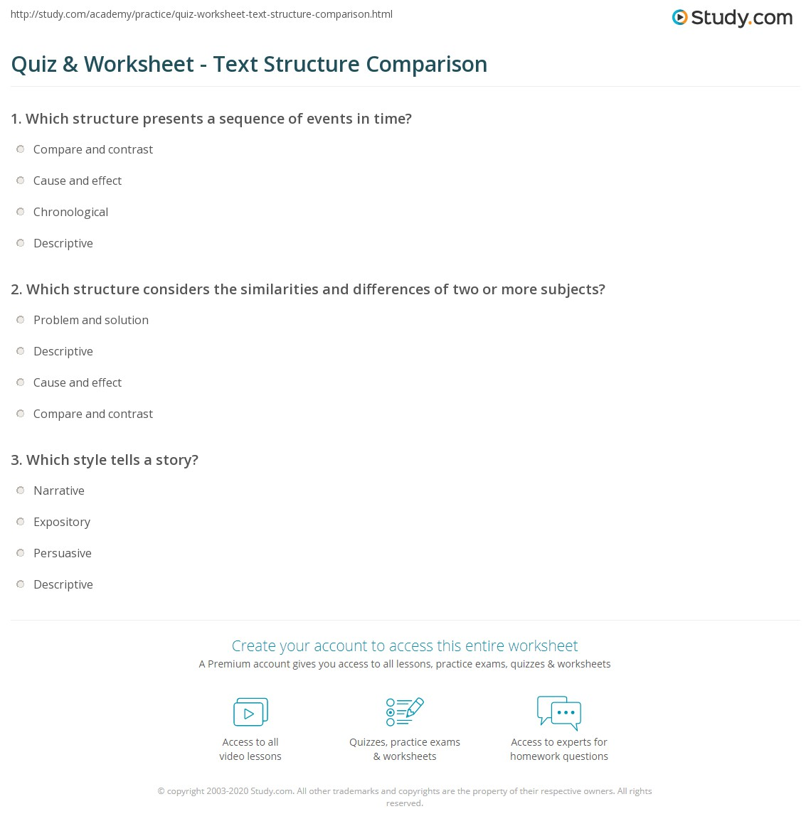 Workbooks text structure practice worksheets : Quiz & Worksheet - Text Structure Comparison | Study.com