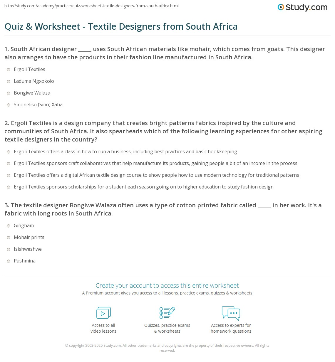 Quiz Worksheet Textile Designers From South Africa Study Com
