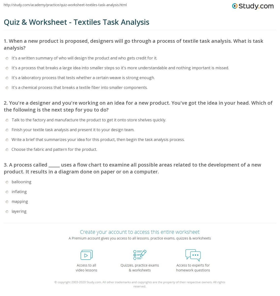 quiz worksheet textiles task analysis. Black Bedroom Furniture Sets. Home Design Ideas