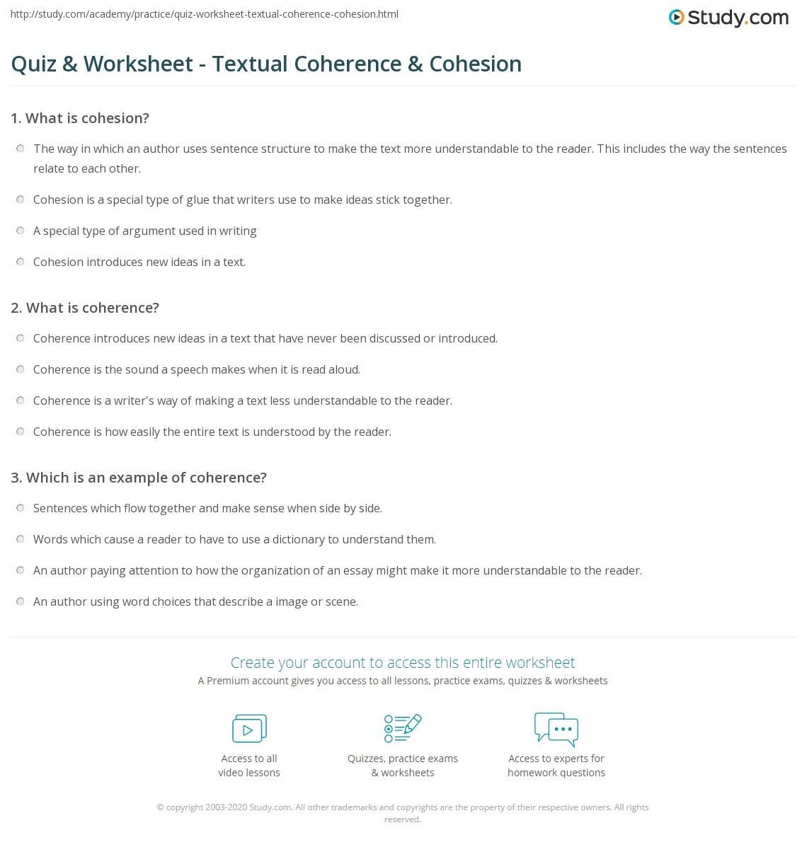 Quiz & Worksheet - Textual Coherence & Cohesion | Study com